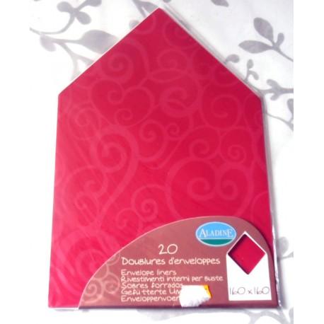 Lot de 20 doublures enveloppes 160 x 160 couleur arabesque rouge carmin mariage faire part anniversaire loisirs créatifs