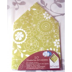 Lot de 20 doublures enveloppes 160 x 160 fleurs de l'est vert/blanc mariage faire part anniversaire loisirs créatifs