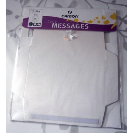 Lot de 5 cartes messages Canson ivoire loisirs créatifs mariage faire part anniversaire fêtes