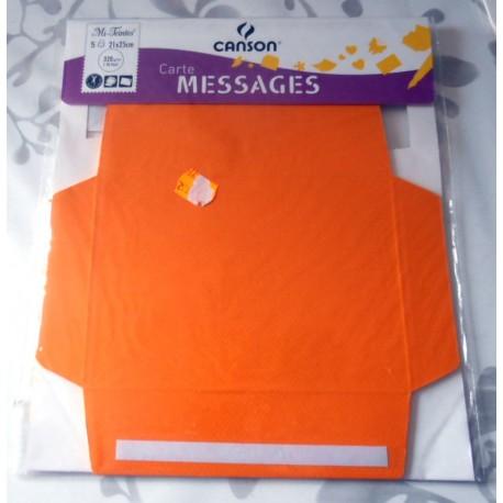 Lot de 5 cartes messages Canson orange fluo loisirs créatifs mariage faire part anniversaire fêtes