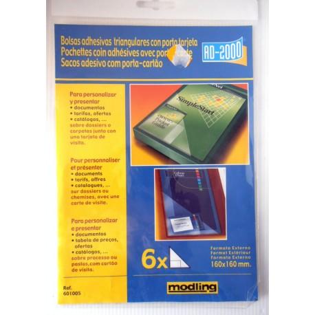 Lot de 6 pochettes coins adhésifs avec porte cartes bureautique informatique loisirs créatifs