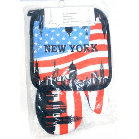 SET 2 PIÈCES GANT DE CUISINE ET MANIQUE NEW YORK LOT 01 100% COTON NEUF
