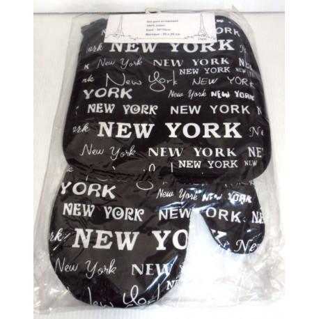 SET 2 PIÈCES GANT DE CUISINE ET MANIQUE NEW YORK LOT 05 100% COTON NEUF