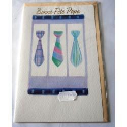 Carte postale double avec enveloppe fête des pères bonne fête papa cravates neuve