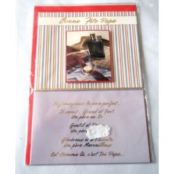 Carte postale double avec enveloppe fête des pères bonne fête papa poèmes neuve