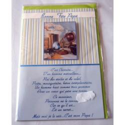 Carte postale double avec enveloppe fête des pères bonne fête papa poème neuve