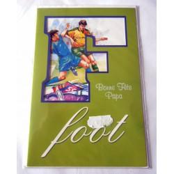 Carte postale double avec enveloppe fête des pères bonne fête papa FOOT neuve