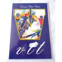 Carte postale double avec enveloppe fête des pères bonne fête papa VTT neuve
