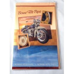Carte postale double avec enveloppe fête des pères bonne fête papa collection moto neuve