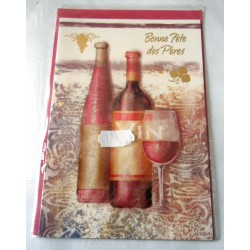 Carte postale double avec enveloppe fête des pères vins vignobles neuve