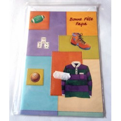 Carte postale avec enveloppe fête des pères multi objets neuve