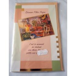 Carte postale avec enveloppe fête des pères bonne fête papa neuve