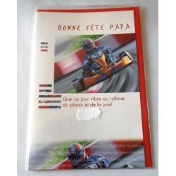 Carte postale avec enveloppe fête des pères karting bonne fête papa neuve