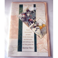 Carte postale avec enveloppe fête des pères cher papa poème neuve