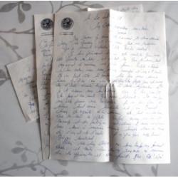 """ANCIENNE LETTRE D'AMOUR POINÇON PORTE AVION CLEMENCEAU """" le 20/09/1968"""