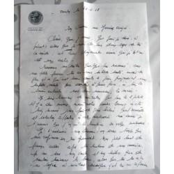 """ANCIENNE LETTRE D'AMOUR POINÇON PORTE AVION CLEMENCEAU """" le 26.02.68"""