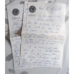 """ANCIENNE LETTRE D'AMOUR POINÇON PORTE AVION CLEMENCEAU """" le 27.04.1967"""
