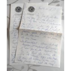 """ANCIENNE LETTRE D'AMOUR POINÇON PORTE AVION CLEMENCEAU """" le 25.04.1967"""