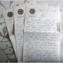 """ANCIENNE LETTRE D'AMOUR POINÇON PORTE AVION CLEMENCEAU """" le 28.04.1967"""