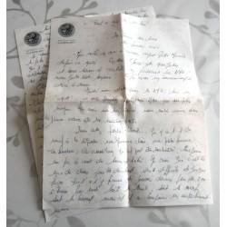 """ANCIENNE LETTRE D'AMOUR POINÇON PORTE AVION CLEMENCEAU """" le 11.05.1968"""