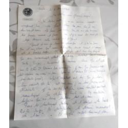 """ANCIENNE LETTRE D'AMOUR POINÇON PORTE AVION CLEMENCEAU """" le 06.05.1968"""