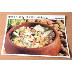"""FICHE CUISINE vintage rétro la bonne cuisine salades """" scarole au raisin muscat """""""