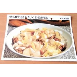 """FICHE CUISINE vintage rétro la bonne cuisine salades """" composée aux endives """""""