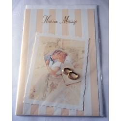 Carte postale double avec enveloppe mariage anniversaire félicitation relief relief bagues neuve