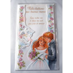 Carte postale double avec enveloppe félicitation mariage découpée couple et colombes neuve