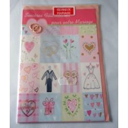 Carte postale double avec enveloppe félicitation mariage déco bague collée neuve