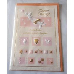 Carte postale double avec enveloppe mariage anniversaire félicitation clé collée neuve