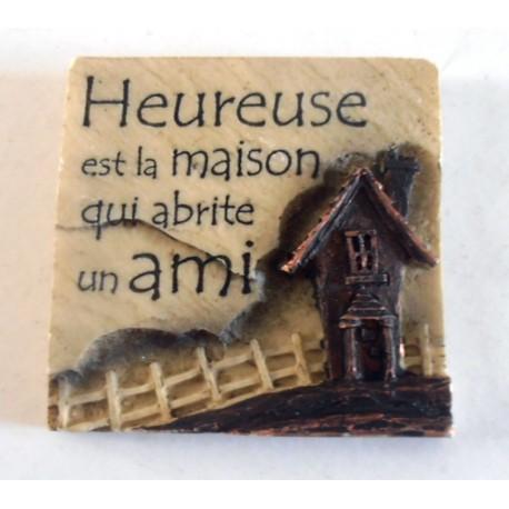 MAGNET DÉCO RELIEF 3 D 7 X 7 CM RÉSINE HEUREUSE EST LA MAISON ... NEUF IDÉES CADEAUX COLLECTION