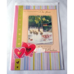 Carte postale double avec enveloppe mariage anniversaire félicitation champagne neuve
