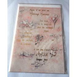 Carte postale double avec enveloppe mariage anniversaire félicitation poème rose neuve