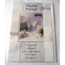 Carte postale double avec enveloppe mariage anniversaire félicitation champagne poème neuve
