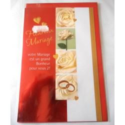 Carte postale double avec enveloppe félicitation heureux mariage roses blanches neuve