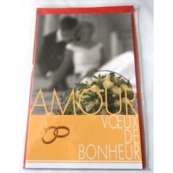 Carte postale double avec enveloppe mariage anniversaire félicitation voeux bonheur neuve