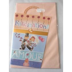 Carte postale double avec enveloppe félicitations mariage découpée neuve