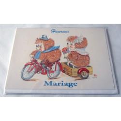 Carte postale double avec enveloppe mariage anniversaire félicitation oursons neuve