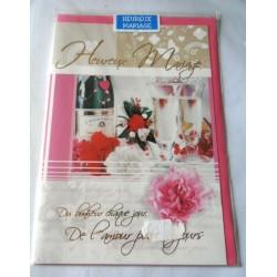Carte postale double avec enveloppe rose mariage anniversaire félicitation neuve