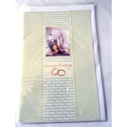 Carte postale double avec enveloppe félicitations heureux mariage fond vert neuve