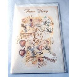 Carte postale double avec enveloppe mariage anniversaire félicitation colombes neuve