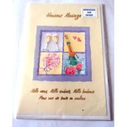Carte postale double avec enveloppe félicitations heureux mariage calque neuve