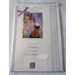 Carte postale double avec enveloppe félicitations anniversaire de mariage nœud mauve collé neuve