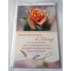 Carte postale double avec enveloppe heureux anniversaire mariage roses 3D neuve