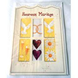 Carte postale double avec enveloppe heureux mariage anniversaire félicitation neuve
