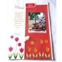 Carte postale double avec enveloppe remerciement naissance baptême mariage merci neuve