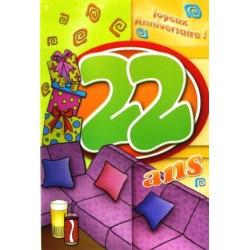 Carte postale neuve fête joyeux anniversaire 22 ans (lot 02)