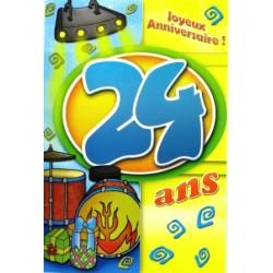 Carte postale neuve fête joyeux anniversaire 24 ans (lot 02)
