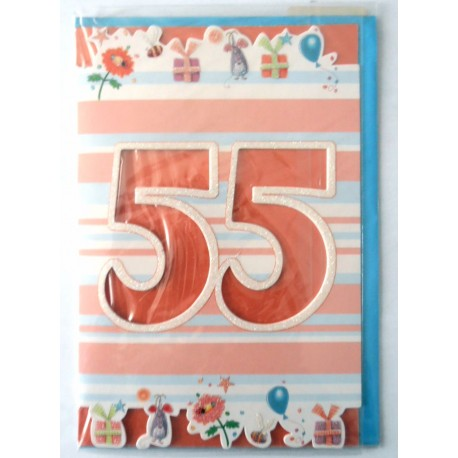 Carte postale neuve fête joyeux anniversaire 55 ans (lot 01) 02